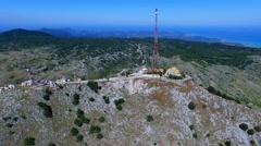 Mount Pantokrator Corfu mountain Greece aerial 4k video. Communication station Stock Footage