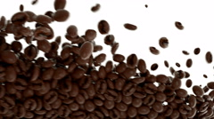 4k Roasted Coffee beans flow in slow motion with alpha. 3d rendering Stock Footage