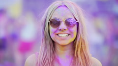 Girl in sunglasses making thumbs-up, looking through rose-colored spectacles Stock Footage