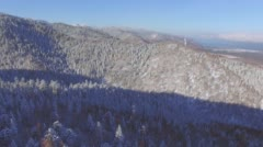 Aerial survey from the air. Winter. Baikalsk ski resort on Mount Sable Stock Footage