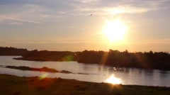Sunset on the Yellowstone River Stock Footage