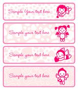 Cupids banner set, collection angels Stock Illustration