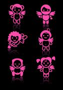 Cupids set, pink icons on black background Stock Illustration