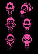 Cupids set, pink on black background Stock Illustration