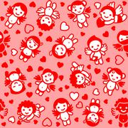 Cupids set, red icons, wrapping paper Stock Illustration