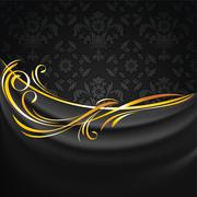 Dark fabric drapes on black ornamental background Stock Illustration