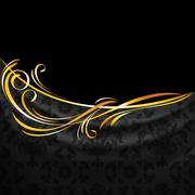 Dark fabric ornamental drapes on black background Stock Illustration