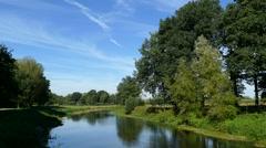 River in Dutch landscape Stock Footage