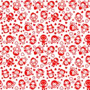 Festive background, wrapping paper, red icons Stock Illustration