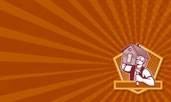 Builder Carpenter Carry House Retro Stock Illustration