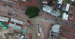 Bird's Eye view of Chorro de Quevedo street in historic La Candelaria, Bogota Stock Footage