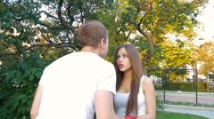 Man and woman swear. Family quarrel. Stock Footage