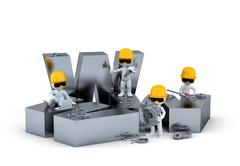 Group of construction workers/builders with WWW sign. Website building or rep Stock Illustration