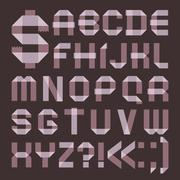 Font from lilac scotch tape -  Roman alphabet Stock Illustration