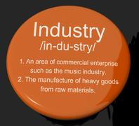 Industry Definition Button Showing Engineering Construction Or Factories Stock Illustration