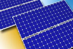 Solar Technology Theme. Photovoltaic Solar Panels. Horizontal Illustration. 3 Stock Illustration
