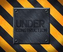 Under Construction Metal Plate Background Stock Illustration
