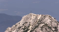 Hikers on white Mountain in the Dolomites on midday (20xzoom) Stock Footage