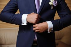 Businessman hands with cufflinks. Elegant gentleman clother Kuvituskuvat