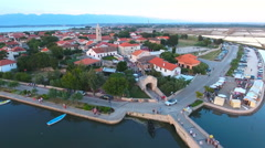 Old town Nin in Croatia aerial shot 4K Stock Footage