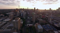 Aerial Shot At Sunrise Over Braamfontein, Johannesburg CBD Stock Footage