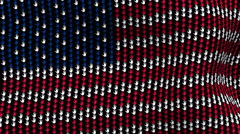American flag is waving in the wind, consisting of hands Stock Footage