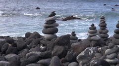 Decoratively placed lava stones Stock Footage