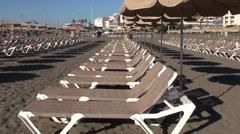 Beach lounger chairs in Adeje, Tenerife Stock Footage