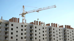 Construction of multi-storey brick building Stock Footage