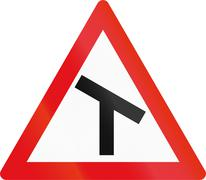 Road sign used in the African country of Botswana - Skewed T-junction Stock Illustration