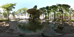 360 VR Braunschweig city relaxing sunny place with water spring Heinrichsbrunnen Stock Footage