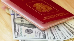 Foreign passports of Russia and dollars Stock Footage