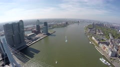 Aerial of Rotterdam city moving over Erasmus Bridge Erasmusbrug 4k Stock Footage