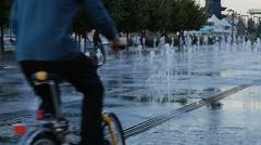 Beautiful city fountain, evening Stock Footage
