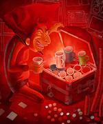 Prize hunter passion and devilish greed - stock illustration