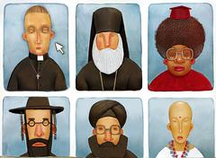 The various priests - stock illustration