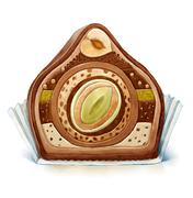 Split chocolate bon-bon Stock Illustration