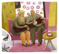 Old style fans Stock Illustration