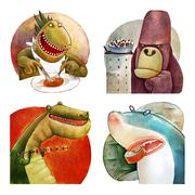 Four hungry monsters Stock Illustration