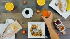 Having breakfast top view timelapse Stock Footage