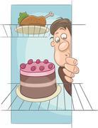 Hungry man on diet cartoon Stock Illustration