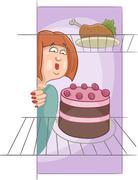Hungry woman on diet cartoon Stock Illustration