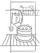 Hungry woman on diet drawing Stock Illustration