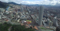 Flying past Torre Colpatria towards the Centro of Bogota Stock Footage