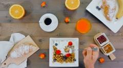 Man having breakfast top view Stock Footage