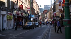 Very busy London street full of small businesses Stock Footage