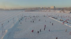 Aerial survey from the air. Winter. Irkutsk city. Ice rink Stock Footage