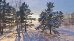 Aerial survey from the air. Winter. Sunset on the Angara River Stock Footage
