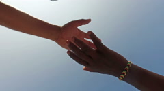 Equality handshake of two multicultural race people Stock Footage