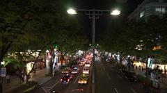 Tokyo shopping district of boulevard (taken from footbridge, Night Scene) Stock Footage
